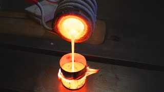 I melt non-ferrous metals. Hot video. An induction heater melts copper.