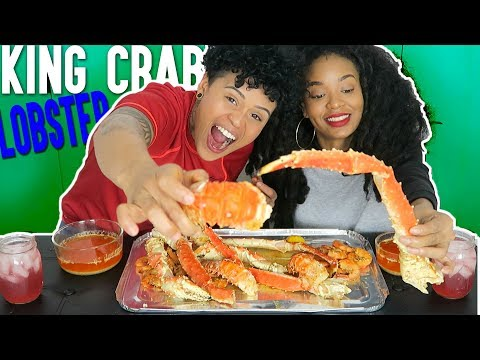 Seafood Boil Mukbang Eating Show (KING CRAB, LOBSTER TAILS AND SHRIMP)