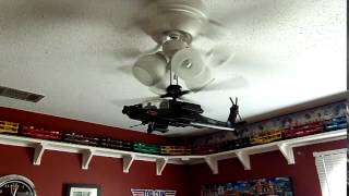 Helicopter mounted to a ceiling fan