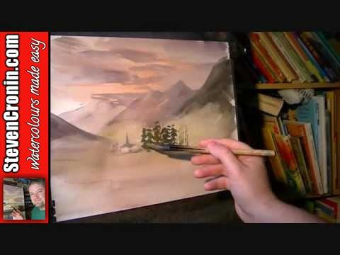 Misty Mountain Village Watercolour Landscape Painting Demo Part 1