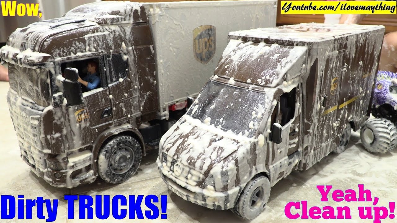 Dirty TOY CARS! Car Wash Playtime with the Kids. UPS ...