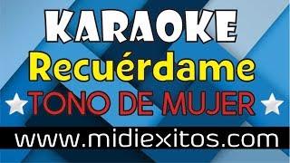 Recuérdame ''Coco'' TONO DE MUJER - Karaoke [HD] y Midi