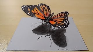 Drawing Awesome 3D - Butterfly Illusion on Paper - Vamos