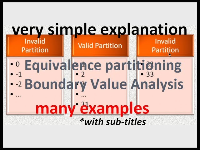Equivalence Partitioning and Boundary Value Analysis tutorial - YouTube