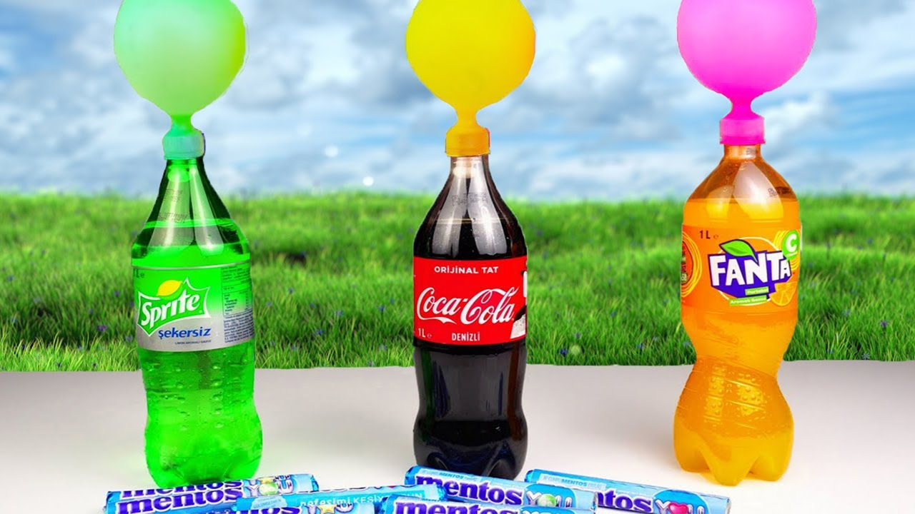 EXPERIMENT: COCA COLA, FANTA, SPRITE WITH BALLOONS VS MENTOS