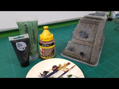 Foamboard Buildings & Ruins - Weathering with Washes