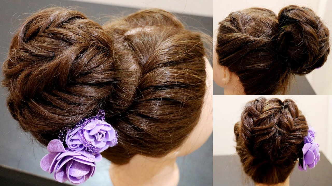 Image result for Polished High Bun With Braided Wrap