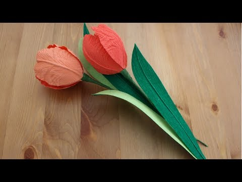 How to make a Tulip using Crepe Paper | Crepe Paper Tulip tutorial