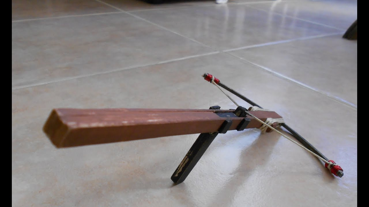 Mini Crossbow Homemade Demonstration And Shooting