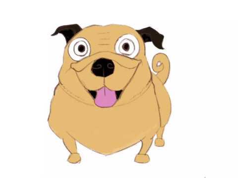 Pug cartoon drawn in Procreate on an iPad Pro