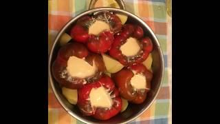 Punjena paprika sa sirom recept/Gefüllte Paprika mit Käse überbacken Rezept/Baked paprika cheese