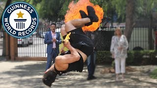 Fire breathing full twist backflips in one minute - Guinness World Records Day
