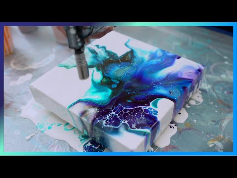 (02) Acrylic Fluid painting Tutorial using blowdryer Galaxy colors dutch pour