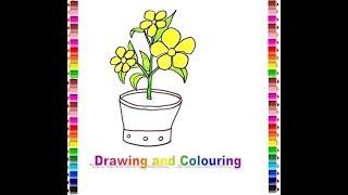 How to draw and colouring Alamanda flower (Gambar bunga alamanda)