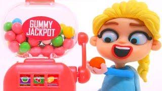 FROZEN ELSA & GUMBALL MACHINE ❤ Superhero Babies Play Doh Cartoons & Stop Motion Movies