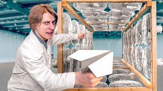 В тоннель из вентиляторов запустил бумажный самолётик