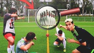 JUGANDO A LOS BOLOS CON BALON DE FUTBOL!!!!!!!! RETOS DE FUTBOL EN LA VIDA REAL