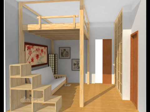 Small apartment ideas loft bed youtube for Hochbett 140x200
