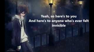 Invisible - Hunter Hayes - Nightcore - lyrics on screen