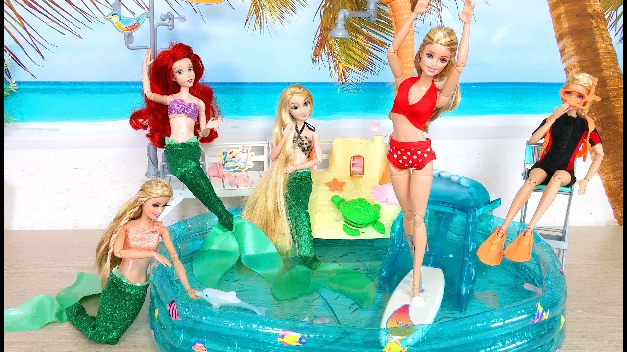 Barbie New Swimming Pool Barbie Sirena Boneca Nova Piscina Youtube