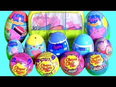 Thumbnail: Peppa Pig Toys Surprise Complete Collection Chupa Chups Surprise Eggs Clay Play-Doh Stampers 。◕‿◕。