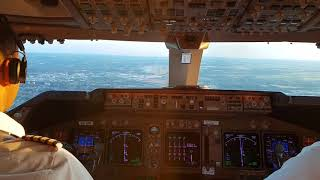 Cockpit view.  Boeing 747 400F LANDING in Liege BELGIUM airport on a clear day