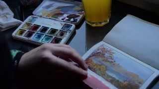 Autumn landscape gouache live painting sketch