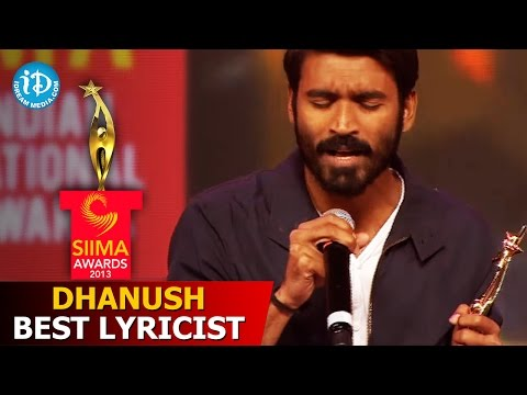 Dhanush Best Lyricist@SIIMA 2013 Awards Function Part 3