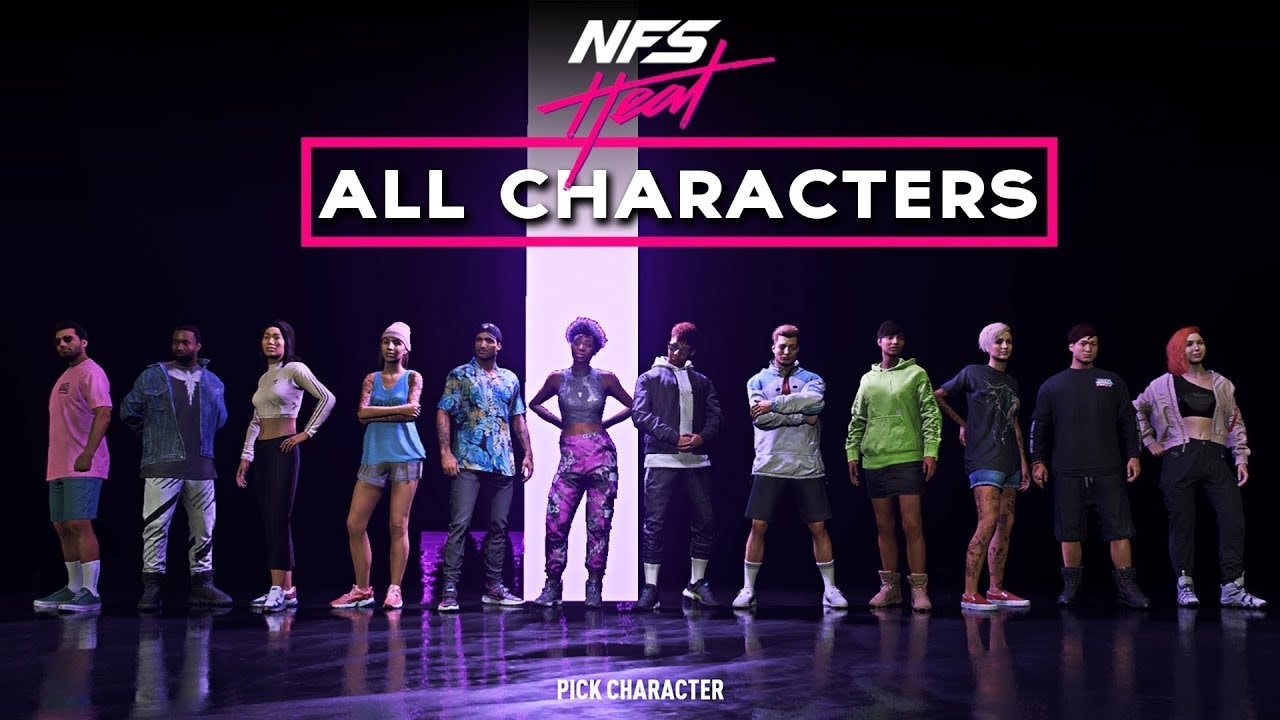 Need For Speed Heat All 12 Playable Characters Showcase Youtube