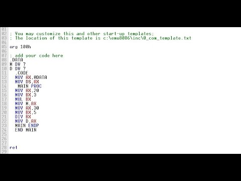 How to multiply and divide two number in assembly language