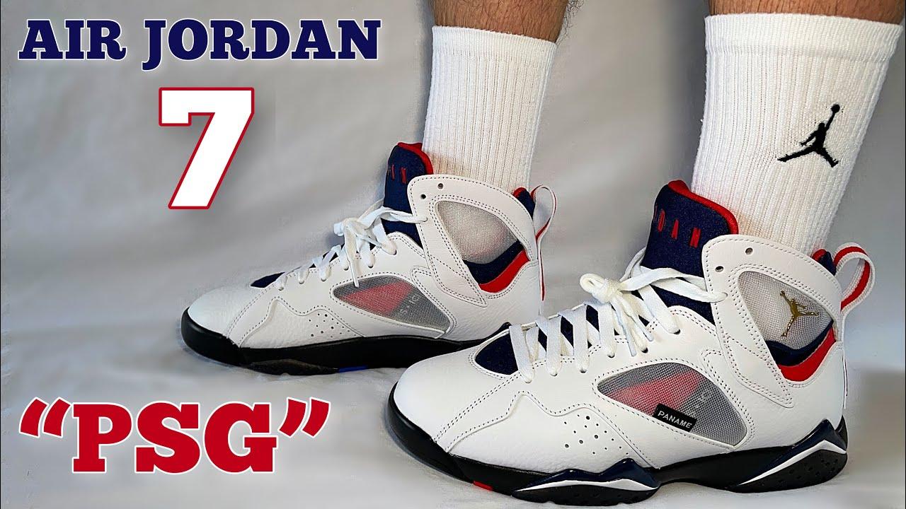 """????⚪️???? AIR JORDAN 7 """"PSG"""" REVIEW & ON FOOT LOOK!! - YouTube"""