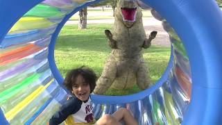 Pretend Play DINOSAURS for Kids! Kid video INFLATABLE DINOSAUR COSTUME PRANK FUN!