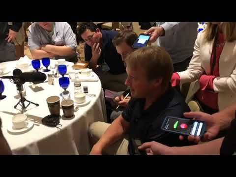 Jon Gruden Press Conference Oakland Raiders Head Coach At NFL Annual Owners Meeting 2018