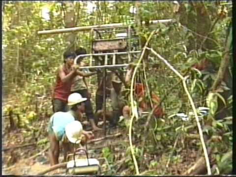 1980's portable seismic exploration drilling in the jungles of Aceh, North Sumatra