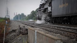 "HD: NKP 765 ""Detroit Arrow"" Excursion Train Departs Allen Park, MI During Storm"