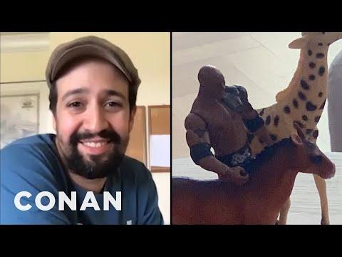 "Lin-Manuel Miranda's Son Plays With A Dwayne ""The Rock"" Johnson Figurine - CONAN on TBS"