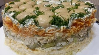 видео Салат полянка рецепт с курицей и грибами опятами рецепт