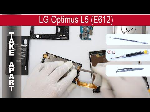 How to disassemble 📱 LG Optimus L5 E610 / E612, Take Apart, Tutorial
