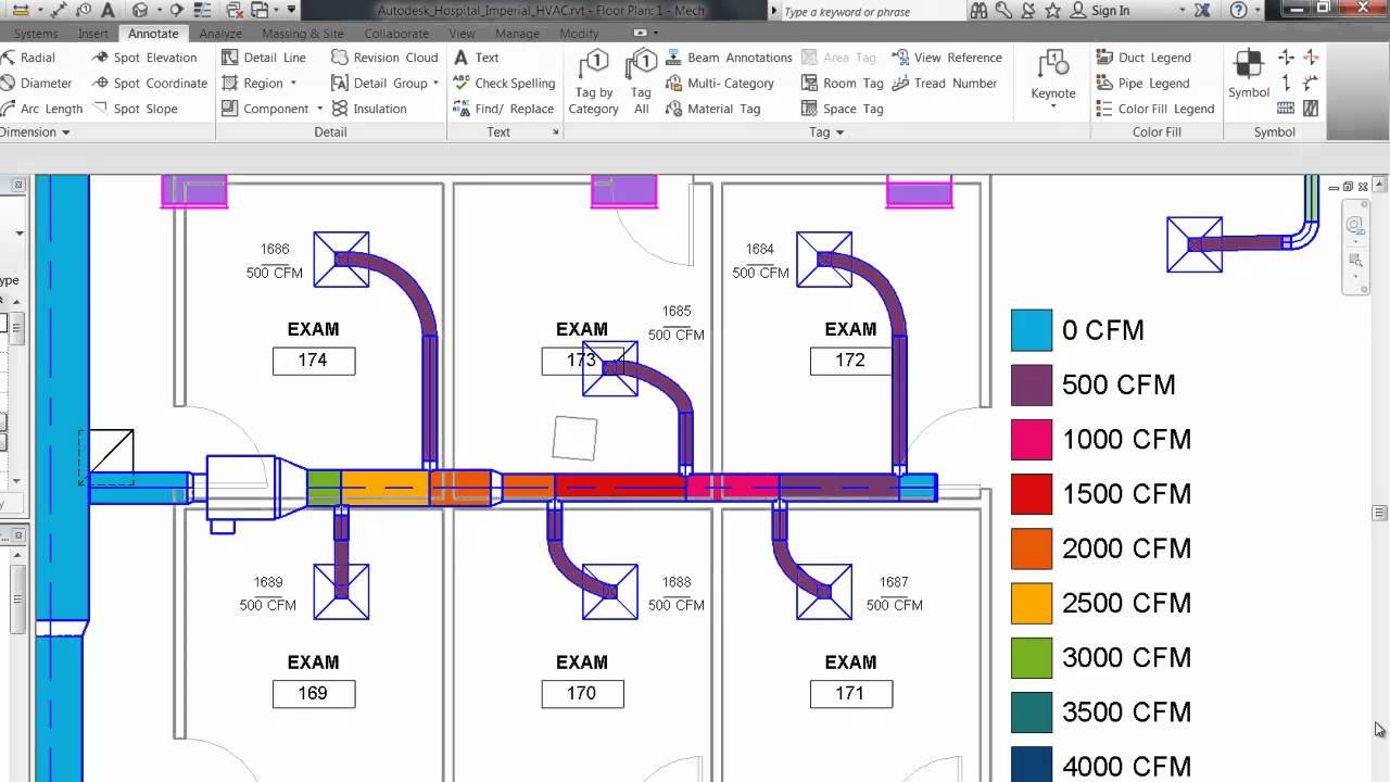 Autodesk Revit Architecture 2013 Duct Pipe Color Fill Flow