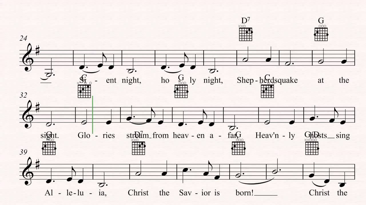 Guitar Silent Night Christmas Sheet Music Chords Vocals
