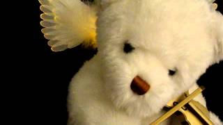 Animated Musical Fiber Optic White TEDDY BEAR Angel Wings Playing Violin Plush