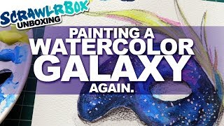 PAINTING A WATERCOLOR GALAXY | Scrawlrbox Unboxing| DrawingWiffWaffles