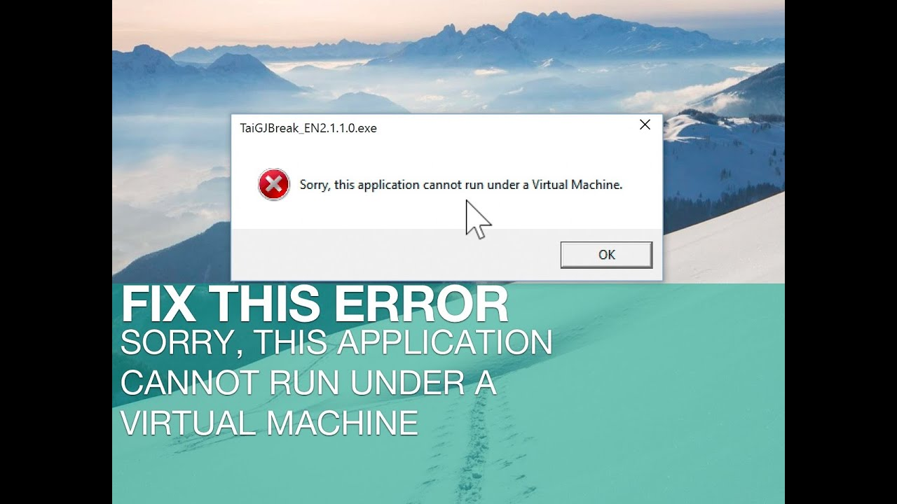 sorry this application cannot run a machine