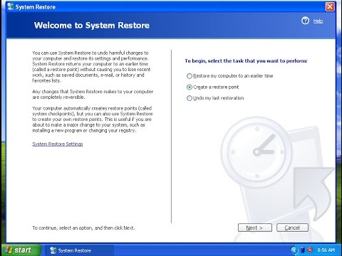 How To Create A System Restore Point On Windows XP
