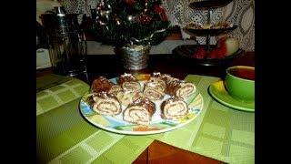 Готовим шоколадные блинчики и делаем из них рулетики с банановой начинкой