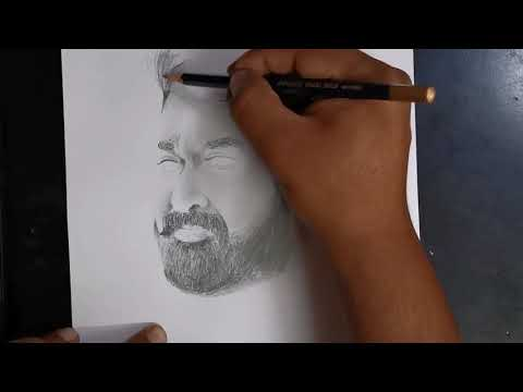 Lalettan pencil sketch | drawing Mohan Lal | How to draw | pencil drawing thumbnail