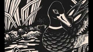 Linocut printmaking ''Duck Pond'' process by Emils Salmins ''
