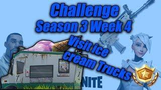 "Fortnite ""Visit ice cream trucks"" Location Week 4 Battle Pass Challenge Fortnite Battle Royale"