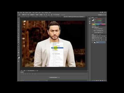 فوتوشوب طريقة قص الصورة بإحتراف دمجها مع خلفية Youtube