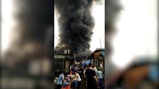 Cháy lớn tại chợ Sóc Sơn, TP Hà Nội | Tin Tức 24H